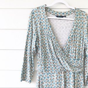 Boden Dresses - Boden WH079 Faux Wrap Dress Blue Dot Print